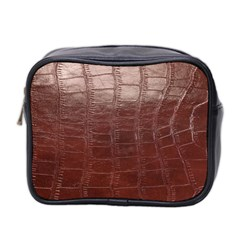 Leather Snake Skin Texture Mini Toiletries Bag 2 Side
