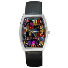 Letters A Abc Alphabet Literacy Barrel Style Metal Watch