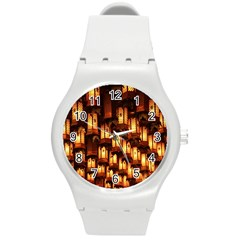 Light Art Pattern Lamp Round Plastic Sport Watch (m)