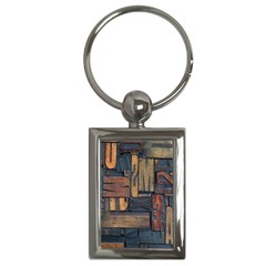 Letters Wooden Old Artwork Vintage Key Chains (rectangle)  by Nexatart