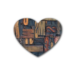 Letters Wooden Old Artwork Vintage Rubber Coaster (heart)