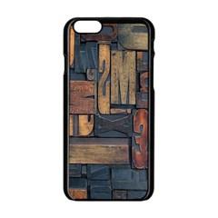 Letters Wooden Old Artwork Vintage Apple Iphone 6/6s Black Enamel Case by Nexatart