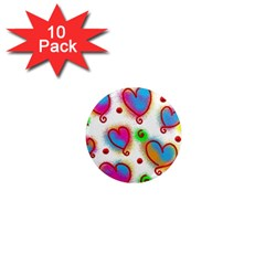 Love Hearts Shapes Doodle Art 1  Mini Magnet (10 Pack)  by Nexatart