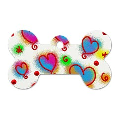 Love Hearts Shapes Doodle Art Dog Tag Bone (two Sides)