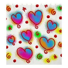 Love Hearts Shapes Doodle Art Shower Curtain 66  X 72  (large)