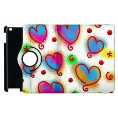 Love Hearts Shapes Doodle Art Apple iPad 3/4 Flip 360 Case by Nexatart