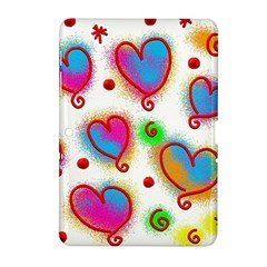 Love Hearts Shapes Doodle Art Samsung Galaxy Tab 2 (10 1 ) P5100 Hardshell Case