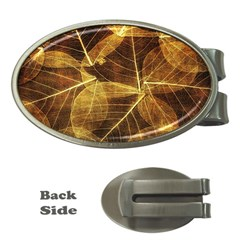 Leaves Autumn Texture Brown Money Clips (oval)  by Nexatart