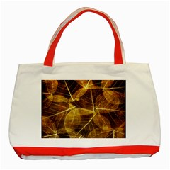 Leaves Autumn Texture Brown Classic Tote Bag (red) by Nexatart