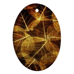 Leaves Autumn Texture Brown Oval Ornament (two Sides) by Nexatart