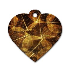 Leaves Autumn Texture Brown Dog Tag Heart (one Side) by Nexatart