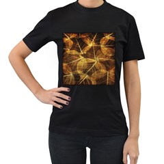 Leaves Autumn Texture Brown Women s T Shirt (black)