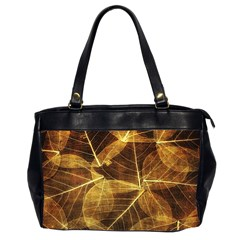 Leaves Autumn Texture Brown Office Handbags (2 Sides)  by Nexatart