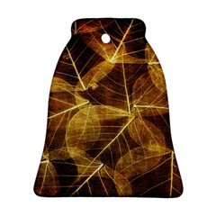 Leaves Autumn Texture Brown Ornament (bell) by Nexatart