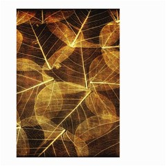 Leaves Autumn Texture Brown Small Garden Flag (two Sides) by Nexatart