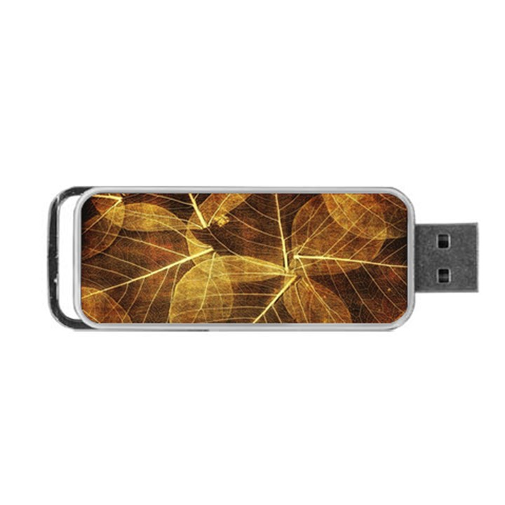 Leaves Autumn Texture Brown Portable USB Flash (One Side)