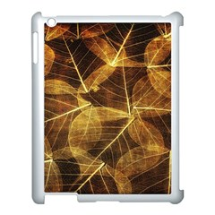 Leaves Autumn Texture Brown Apple iPad 3/4 Case (White) by Nexatart