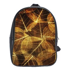 Leaves Autumn Texture Brown School Bags (xl)