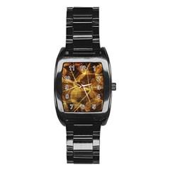 Leaves Autumn Texture Brown Stainless Steel Barrel Watch by Nexatart