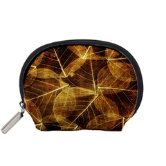 Leaves Autumn Texture Brown Accessory Pouches (small)  by Nexatart