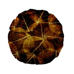 Leaves Autumn Texture Brown Standard 15  Premium Flano Round Cushions by Nexatart