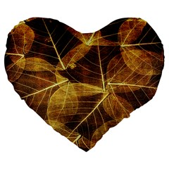 Leaves Autumn Texture Brown Large 19  Premium Flano Heart Shape Cushions by Nexatart