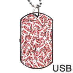 Merry Christmas Xmas Pattern Dog Tag Usb Flash (one Side) by Nexatart