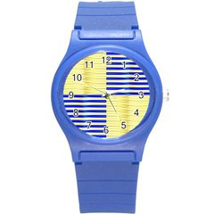 Metallic Gold Texture Round Plastic Sport Watch (s)