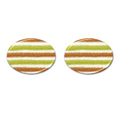 Metallic Gold Glitter Stripes Cufflinks (oval) by Nexatart