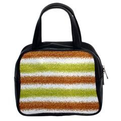 Metallic Gold Glitter Stripes Classic Handbags (2 Sides)