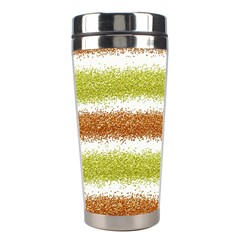 Metallic Gold Glitter Stripes Stainless Steel Travel Tumblers