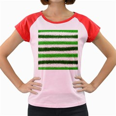 Metallic Green Glitter Stripes Women s Cap Sleeve T Shirt