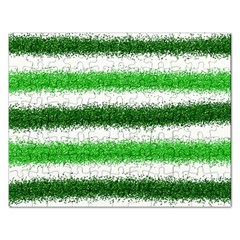Metallic Green Glitter Stripes Rectangular Jigsaw Puzzl
