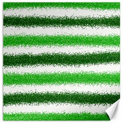 Metallic Green Glitter Stripes Canvas 16  X 16