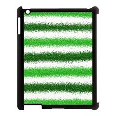 Metallic Green Glitter Stripes Apple Ipad 3/4 Case (black)