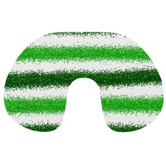 Metallic Green Glitter Stripes Travel Neck Pillows by Nexatart