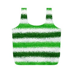 Metallic Green Glitter Stripes Full Print Recycle Bags (m)
