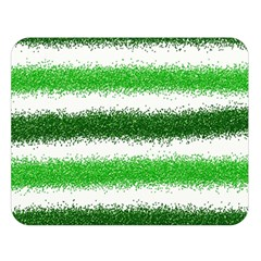 Metallic Green Glitter Stripes Double Sided Flano Blanket (large)  by Nexatart