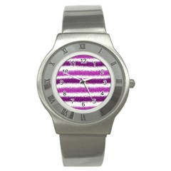 Metallic Pink Glitter Stripes Stainless Steel Watch