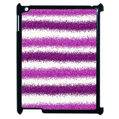 Metallic Pink Glitter Stripes Apple Ipad 2 Case (black) by Nexatart