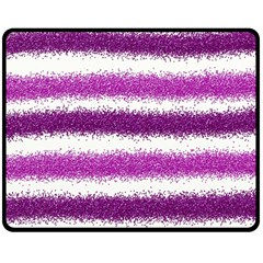 Metallic Pink Glitter Stripes Double Sided Fleece Blanket (medium)