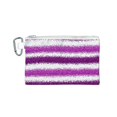 Metallic Pink Glitter Stripes Canvas Cosmetic Bag (s) by Nexatart