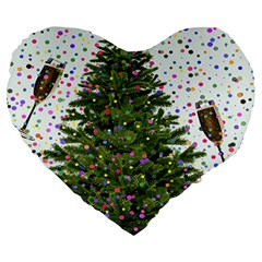 New Year S Eve New Year S Day Large 19  Premium Heart Shape Cushions