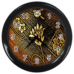 Orange Paper Patterns For Scrapbooking Wall Clocks (black) by Nexatart