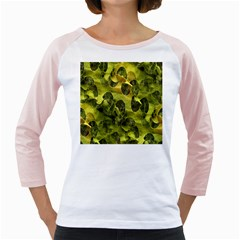 Olive Seamless Camouflage Pattern Girly Raglans