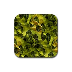 Olive Seamless Camouflage Pattern Rubber Coaster (square)