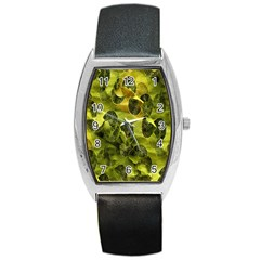Olive Seamless Camouflage Pattern Barrel Style Metal Watch by Nexatart