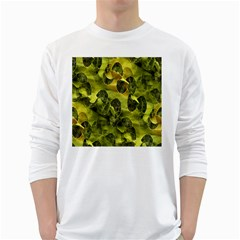 Olive Seamless Camouflage Pattern White Long Sleeve T Shirts