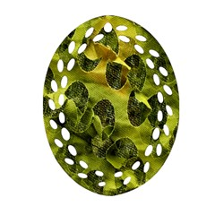 Olive Seamless Camouflage Pattern Oval Filigree Ornament (two Sides)