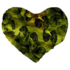 Olive Seamless Camouflage Pattern Large 19  Premium Heart Shape Cushions